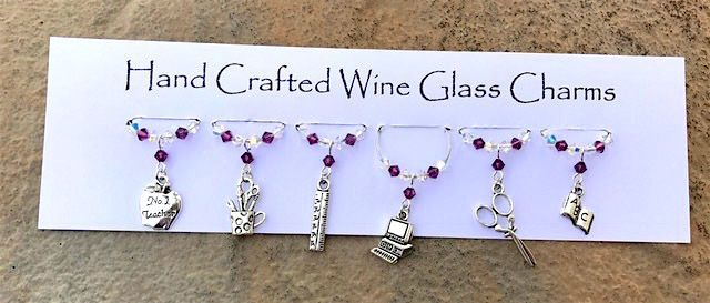 Teacher Gifts - Wine Glass Charms - School - Thank You Gifts - Stocking Fillers £9.99