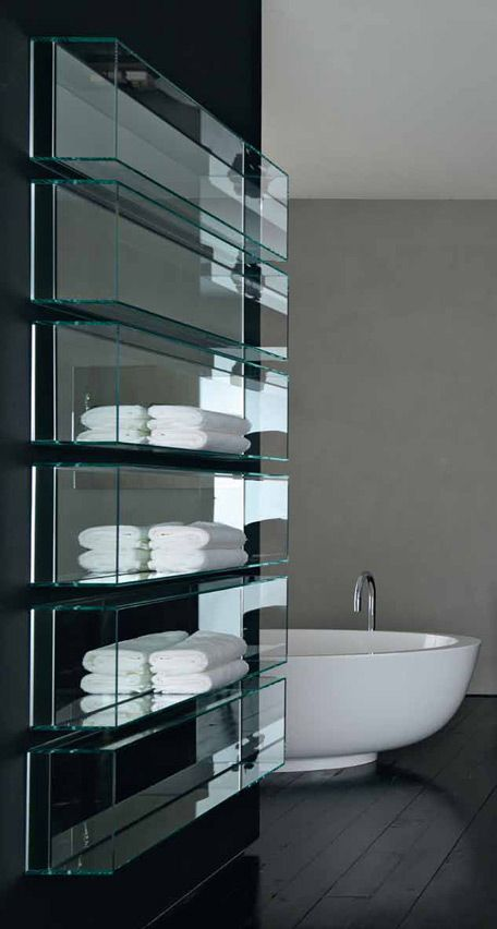 Clean and sleek bathroom glass storage, Shy light & cubo by Rifra _ repined by www.DesignPass.com