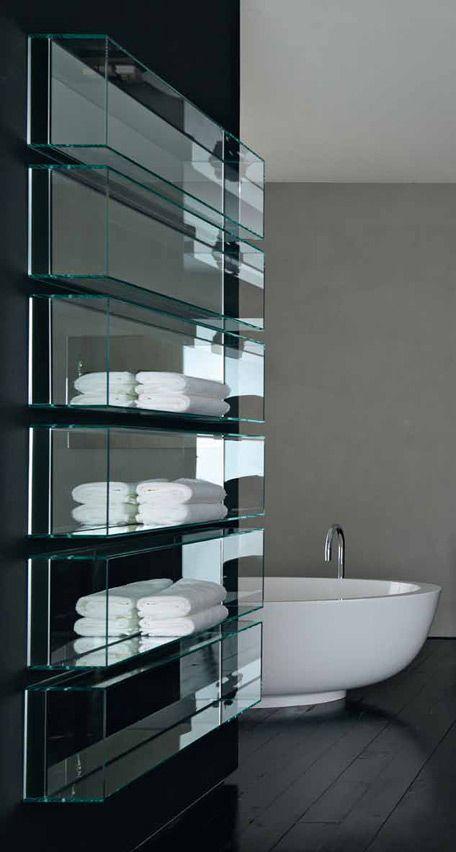 Modern Chic Bathroom. Clean & Sleek  glass storage. I want this in my future home so badly. Simple, elegant, beautiful.