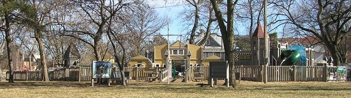 Lindsborg, KS playground. Panaramic view. Designed by Leathers & Associates.