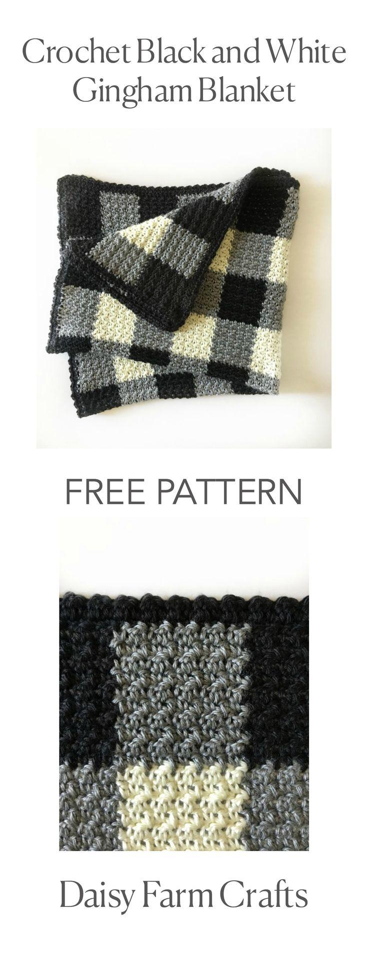 FREE PATTERN - Crochet Black and White Gingham Blanket