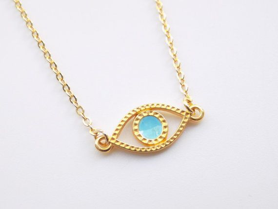 Gold Evil Eye Necklace 14k Gold Filled Necklace by ArroseJewelry