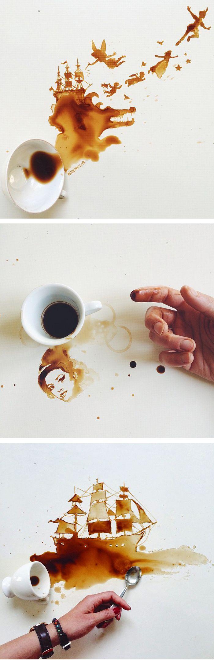 Coffe art by Giulia Bernardelli | coffee painting | unconventional art