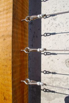 Fasteners on a custom wood and wire trellis contemporary exterior
