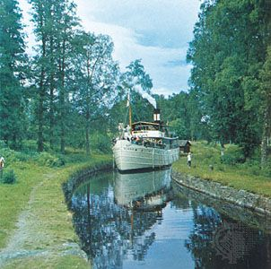 Göta Canal is an artificial waterway that crosses southern Sweden to connect Lake Vänern with the Baltic Sea. For most of its course, the canal passes through lakes, providing inland navigation.
