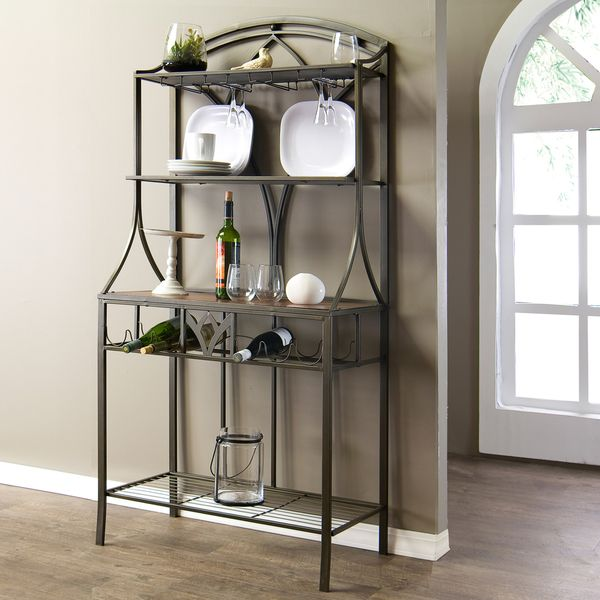 Margaux Wood and Metal Transitional Baker's Rack - Overstock™ Shopping - Big Discounts on Baxton Studio Kitchen Storage