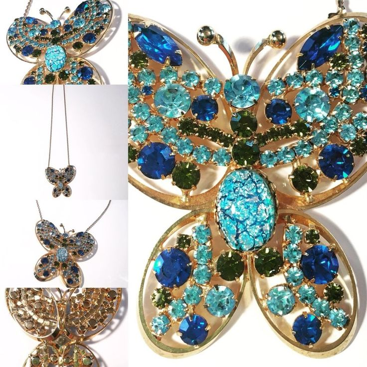 Vtg ALICE CAVINESS Rhinestone Butterfly Figural Pendant Brooch Pin NECKLACE #AliceCaviness