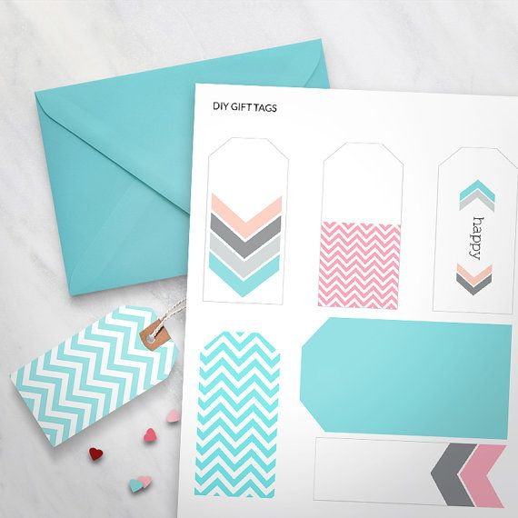 Printable Gift Tags Set of 6  Pastel Chevron Design gift