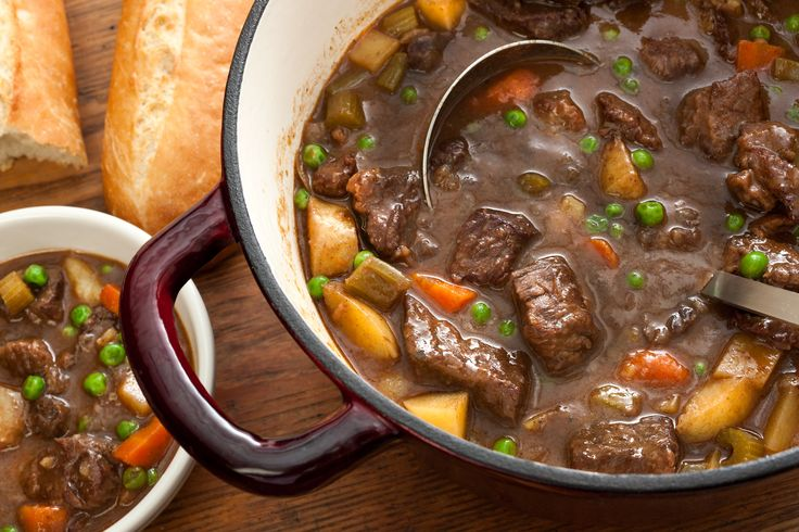 This easy beef stew recipe is a classic slow-cooked dish with chuck roast, carrots, celery, and potatoes simmered in a rich red-wine sauce.