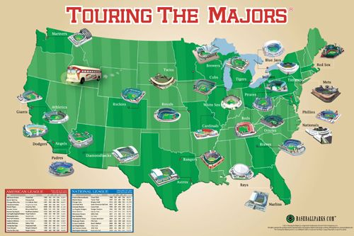 MLB Ballparks TOURING THE MAJORS Wall Map Poster - All 30 Stadiums Teams on the USA Map ~ available at www.sportspostwerwarhouse.com