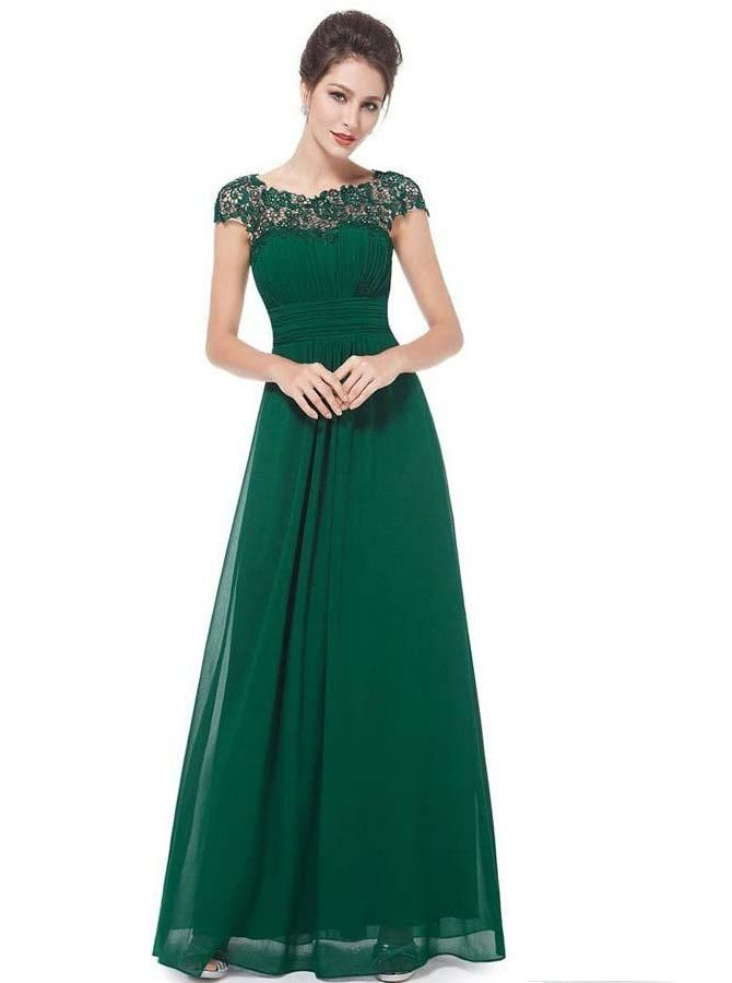 A-Line Bateau Cap Sleeves Open Back Dark Green Chiffon Bridesmaid Dress  with Lace in 2018  9671e3c7b