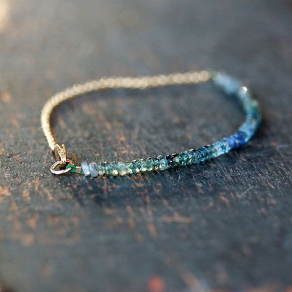 Ocean Sapphire Array Bracelet Gemstone Ombre Blue Teal Green Handmade Jewelry on Etsy, $98.00