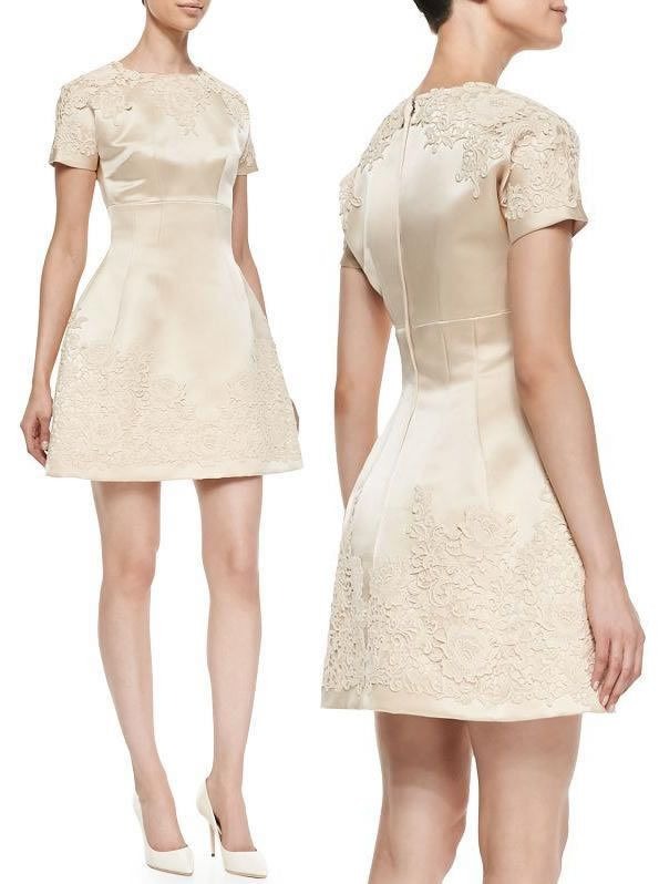 $56 - Top Quality Fashion Lace Appliques Dress Elegant Embellished Satin Party Dresses 14081 Beige, Blue