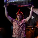 Patrick Kane hoists the Stanley Cup during a Jimmy Buffett concert at FirstMerit Bank Pavilion at Northerly Island. — Chris Sweda / Chicago Tribune, June 29, 2013