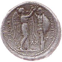 Seleucus I (king in Babylon and the East 305-280 BC), silver tetradrachm, c. 300 BC, Susa mint: head of Alexander (?) with leopard skin helmet and bull's horn to r. (obv.); Nike crowning a tropaion (rev.). The portrait of Alexander (or Seleucus?) has attributes of the god Dionysos, the master of leopards and mythical conqueror of India.