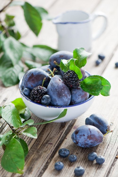 Plums, Blackberries and Blueberries by The Little Squirrel - Anna Verdina (Karnova)
