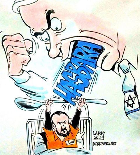 Cartoon: Barghouti vs. Benjamin Netanyahu. Hunger strike in Israeli prisons.