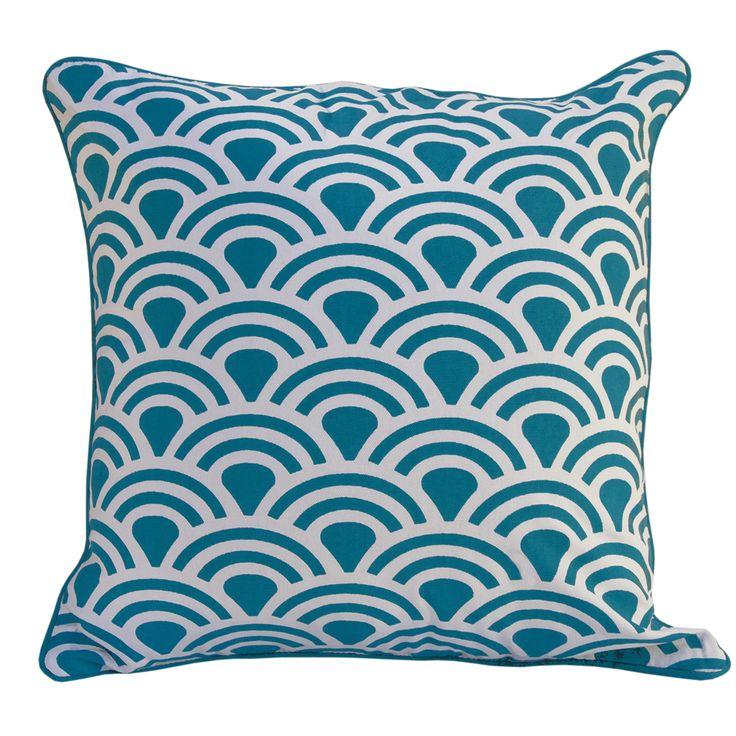 Tails Cushion | Turquoise | 45x45cm by Striking Stools + Cushions on POP.COM.AU