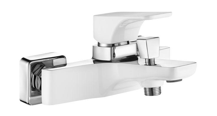 Hiacynt bath mixer, chrome/white, Deante