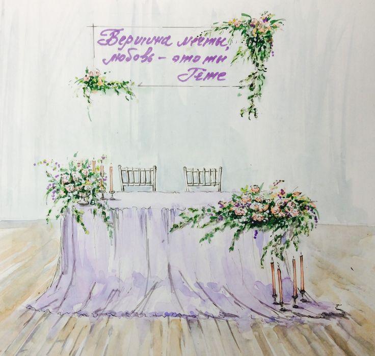 Эскиз оформления президиума Свадьба