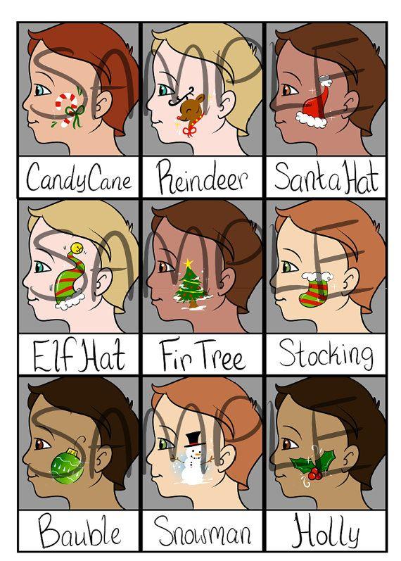 Face Painting Menu Christmas Cheek Art  Digital by PatchesTheClown