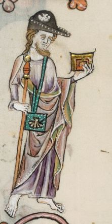 A pilgrim in a black bycocket with a badge. the Luttrell Psalter (Brit. Lib. Add. 42130), c. 1325-1340