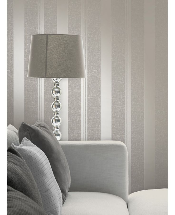 This Quartz Stripe Wallpaper in pewter has alternating stripes of various widths and contrasting finishes with glitter and metallic elements. Free UK delivery available