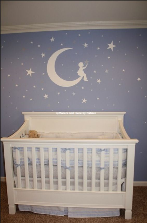 25 best ideas about star themed nursery on pinterest for Baby boy mural ideas