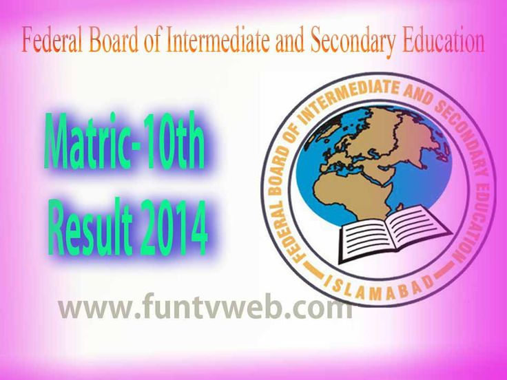 Federal Board Islamabad FBISE Matric Result 2014