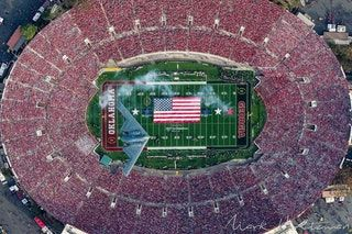 cool Aerial Photo of the B2 Stealth Bomber Flyover at the 2018 Rose Bowl Game