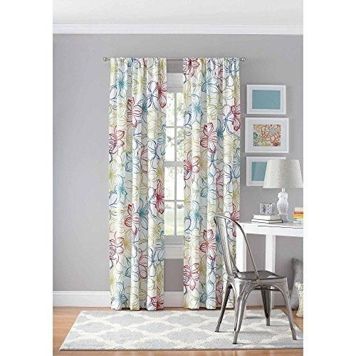 Color 84 Inches Floral Geometric Window Curtain Single Panel Red Blue White Flower Printed Boho Chic Treatment Luxurious Colorful Casual Rod