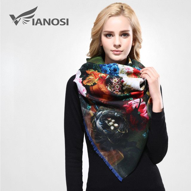[VIANOSI] Newest Design Bandana Printing Winter Scarf Women Shawls Thicken Warm Scarves Wool Brand Scarf Woman Wrap VA070