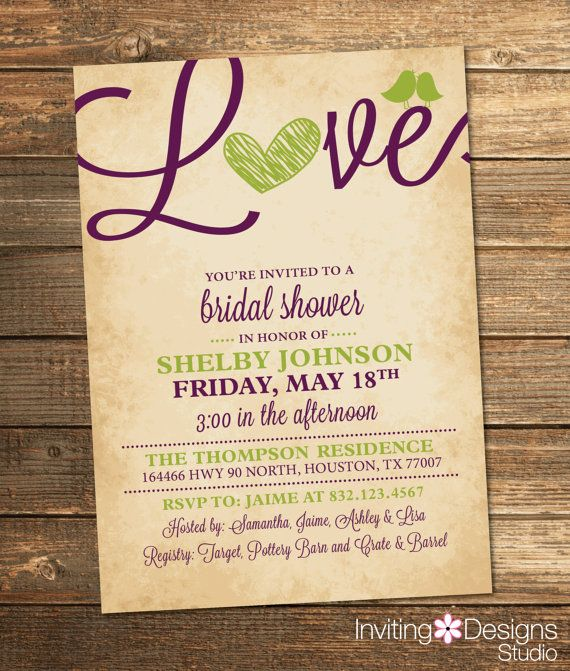 Bridal Shower Invitation, Love, Birds, Heart, Purple, Apple Green, Rustic, Printable File