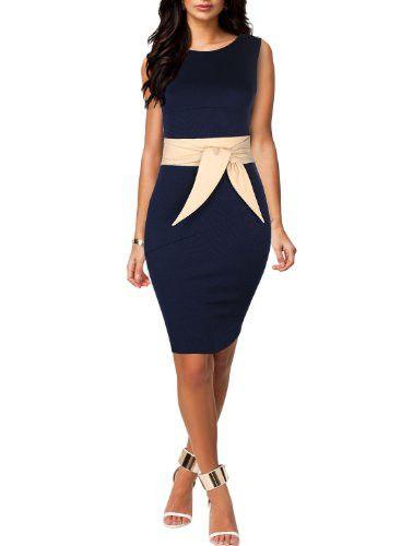 Miusol Women's Scoop Neck Optical Illusion Belt Business Dress