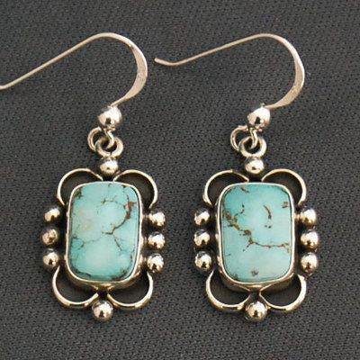 Sterling silver and Royston turquoise earrings by Ruth Ann Begay, Navajo