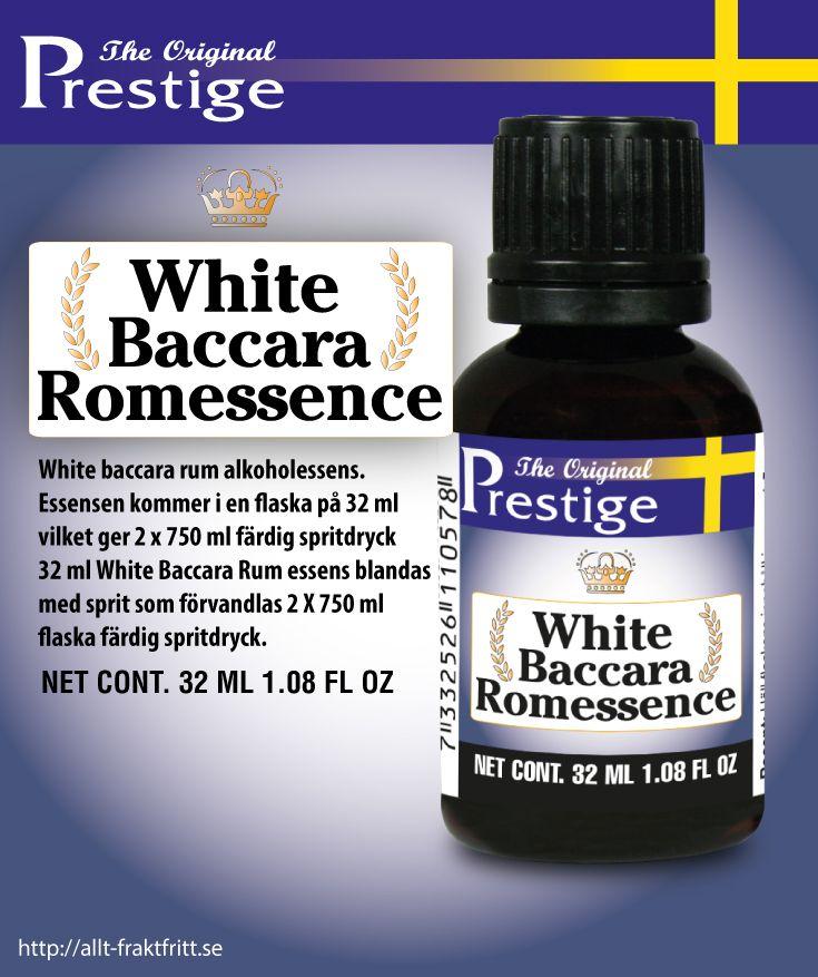 White baccara rum alkoholessens. Essensen kommer i en flaska på 32 ml vilket ger 2 x 750 ml färdig spritdryck 32 ml White Baccara Rum essens blandas med sprit som förvandlas 2 X 750 ml flaska färdig spritdryck.