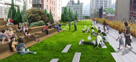 highline park, one of the best parks ever created. Made from an abandoned railway  construction site...