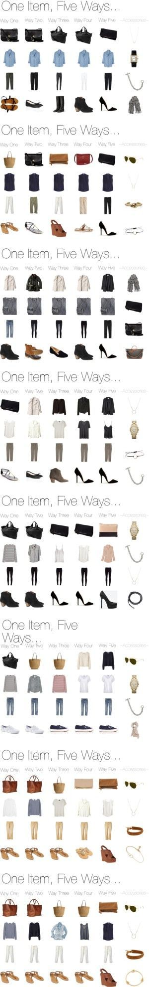 One Item, Five Ways. Casual, semi-formal, professional, business wear. Love all the stylish options!