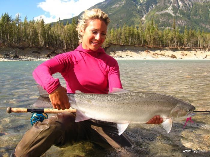 April vokey babe that can catch massive steelhead for Fly fishing girls