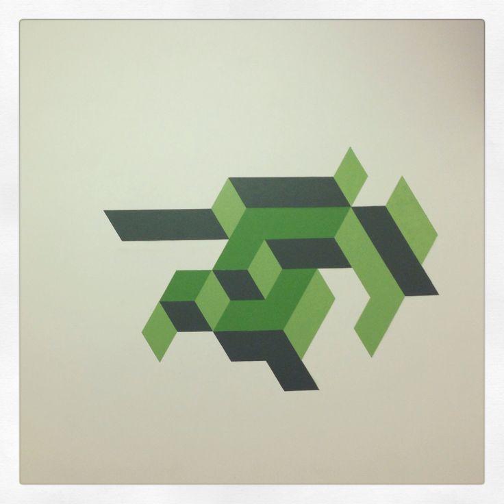 Green graphic work in progress 1 - spray on wall