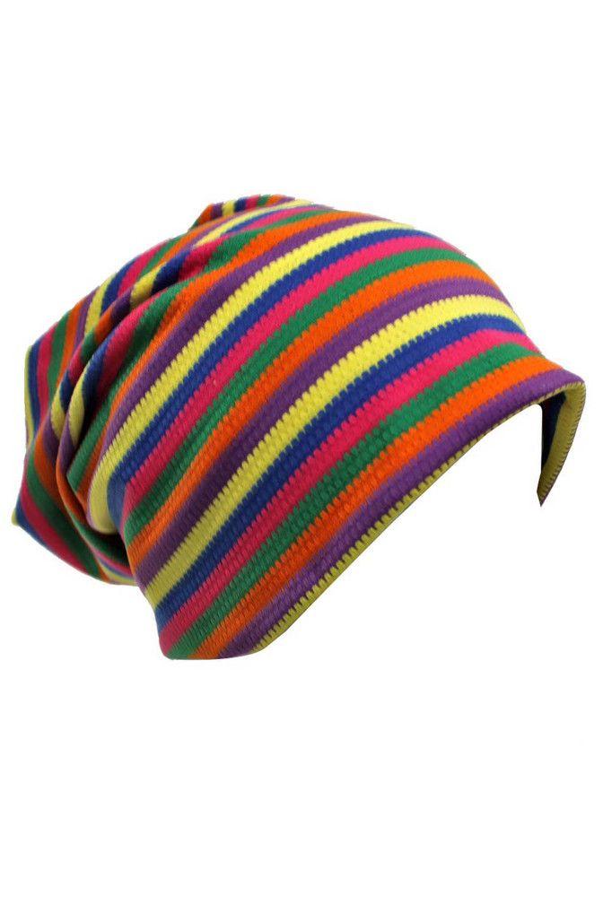Striped Slouchy Jersey Knit Beanie Cap H  EUR 22.00