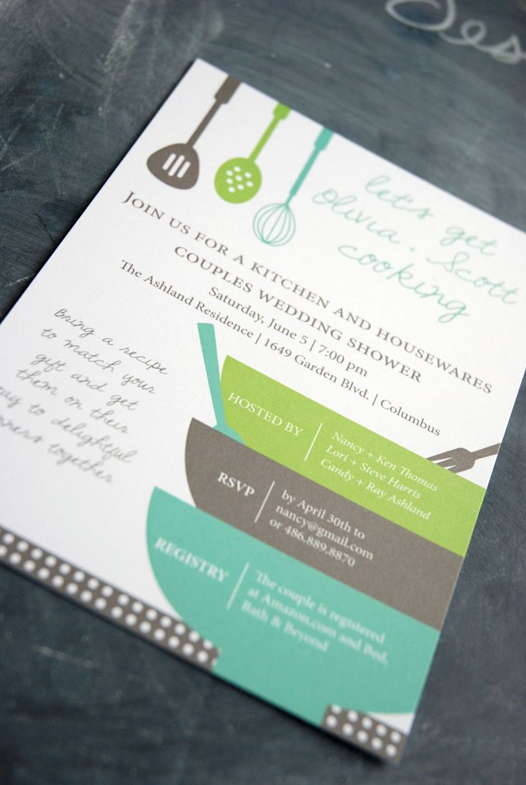 Bridal Shower Invitation And Matching Recipe Card By Geldesign Kitchen Themed Print Your Own