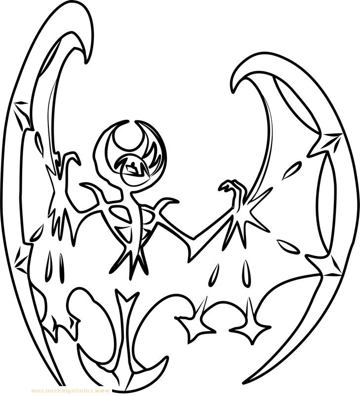 Lunala Pokemon Sun And Moon Kids Coloring Page Pokemon