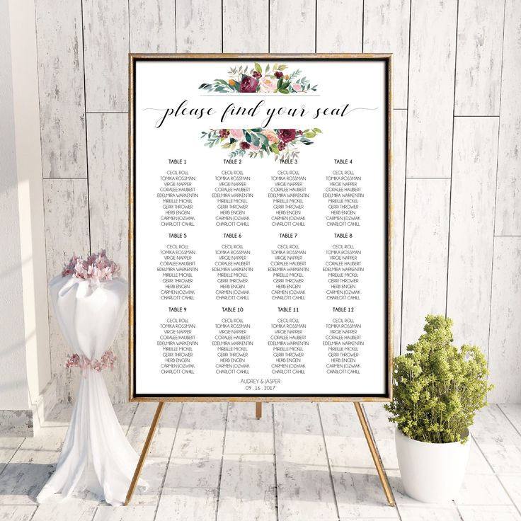 Printable Wedding Seating Chart Watercolor Floral Burgundy Wedding Table Seating Plan Elegant Wedding Stationery Calligraphy Wedding Maroon by OnionSisterCreative on Etsy