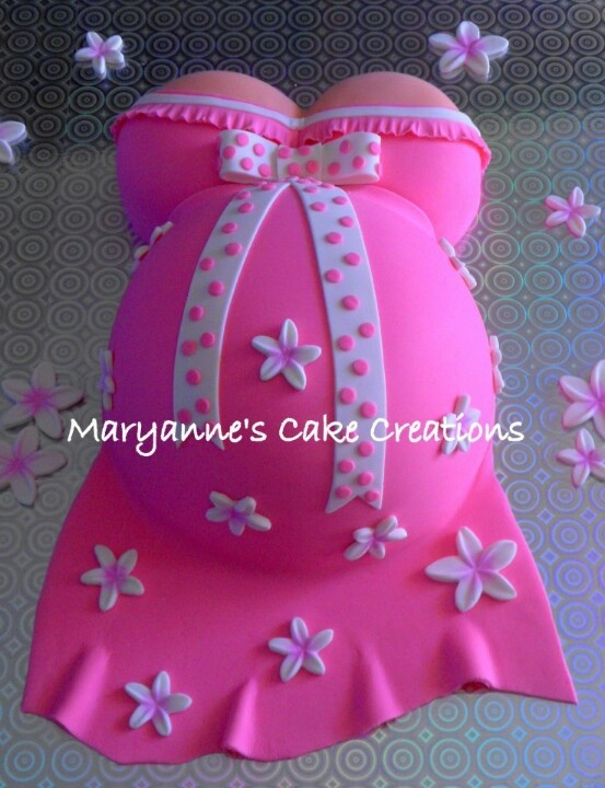 Pregnant belly cake   baby shower