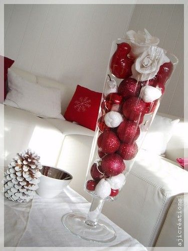 105 best images about d co de table rouge et blanc on for Decoration fenetre noel blanc