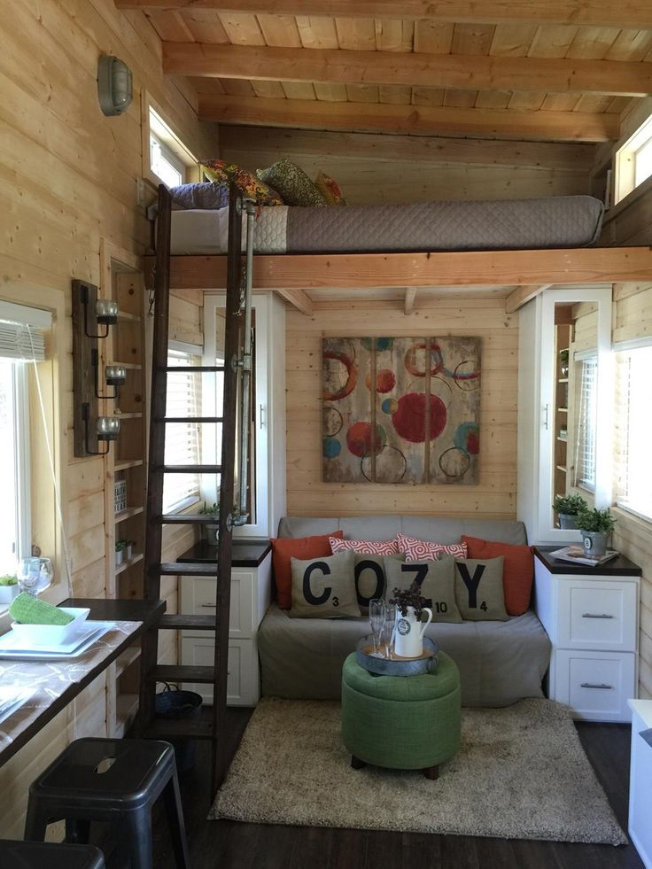 This one has a bed downstairs, as well as a loft. La Mirada Tiny House On Wheels 002