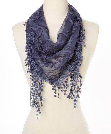 Love this Navy Floral Rosette & Crochet-Trim Silk-Blend Scarf on #zulily! #zulilyfinds