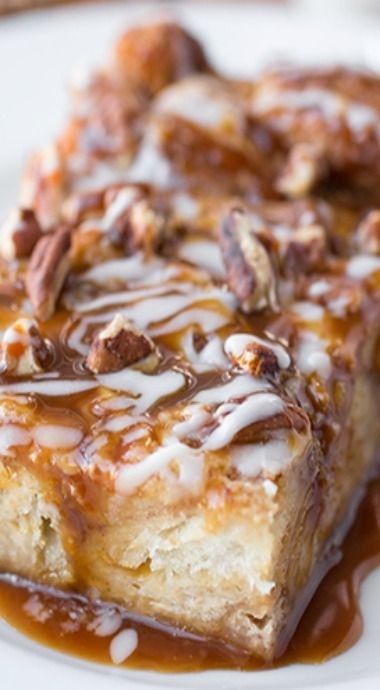"Cinnamon Roll Breakfast ""Soufflé"" topped with Caramel and Pecans"