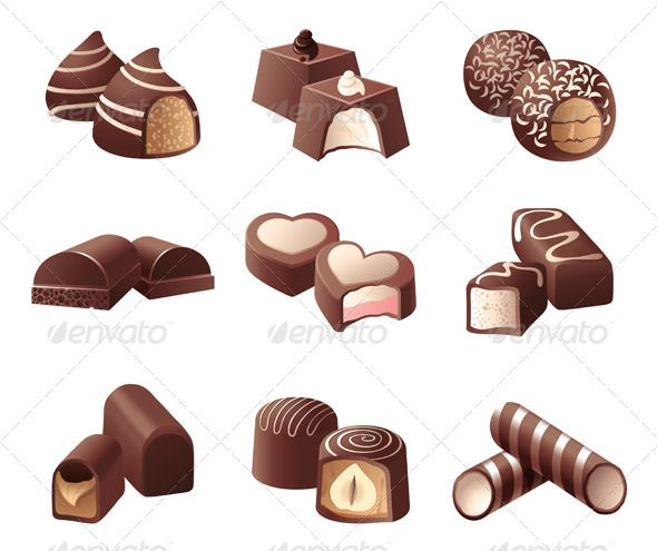 Chocolate Candies #GraphicRiver 9 highly detailed chocolate candies ...